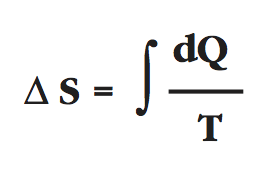 delta S equals integrand dQ over T