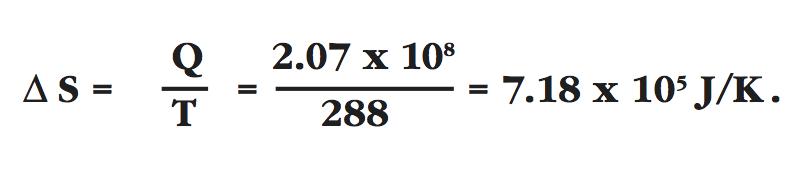 entropy decrease, delta S equals Q over T equals 2.07 e108 over 228 equals 7.18 e105 J/K