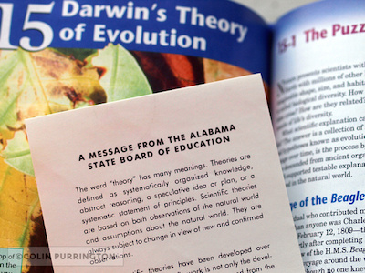Alabama disclaimer sticker on a textbook. Image by Colin Purrington.