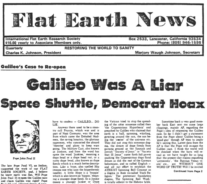"Flat Earth News from December, 1980. Headline: ""Galileo Was A Liar"""