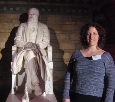 Karen James, with Charles Darwin.