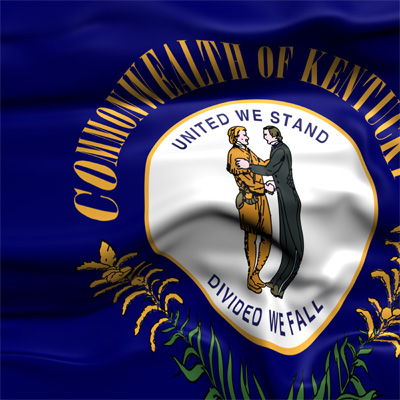 "Kentucky flag waving, showing motto: ""United we stand, divided we fall."""