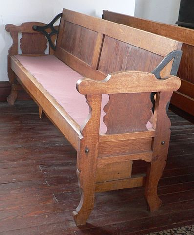 Pew in Little Church, in Keystone, Nebraska. Photograph: Ammodramus via Wikimedia Commons.
