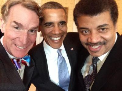 Bill Nye, President Obama, and Neil deGrasse Tyson pose for a selfie at the White House