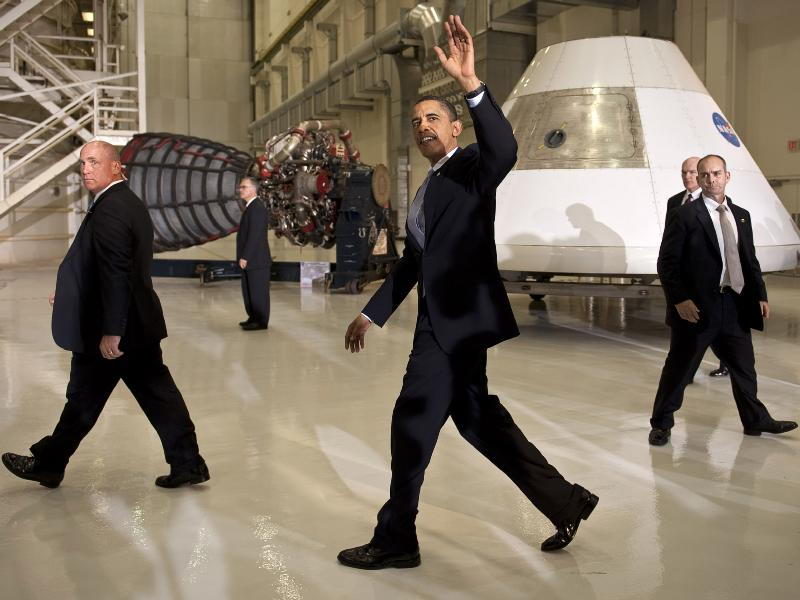 President Barack Obama waves farewell after speaking at the NASA Kennedy Space Center in Cape Canaveral, Fla. on Thursday, April 15, 2010. Image Credit: NASA/Bill Ingalls