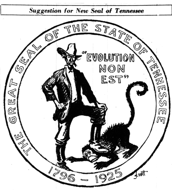 "A proposed ""Seal of the state of Tennessee from 1925, with a southerner standing on an ape's neck, saying ""evolution non est"""
