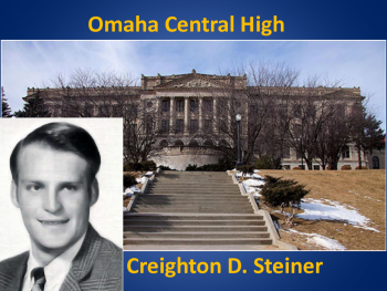 Jim Krupa photo superimposed over an image of his high school.