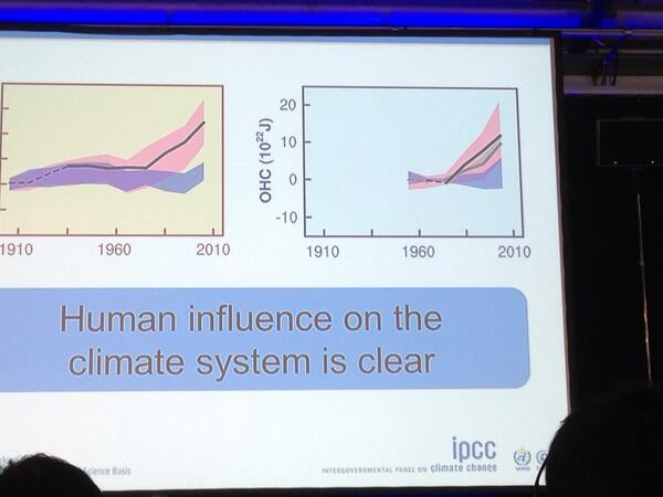 "A slide from the IPCC press conference, tweeted by JPascal van Ypersele (@JPvanYpersele), showing a graph of climate change models with and without a human role, labeled: ""Human influence on the climate system is clear"""