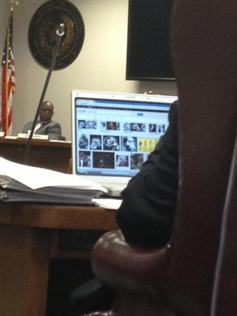 "Photo of board member Ken Mercer's laptop screen, showing Google Image search for ""Piltdown Man."" Note an image from one of Jack Chick's tracts."