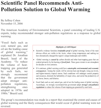 "Pro-regulation version of the article: ""To reduce the volume of heat-trapping gas generated by such fuels, we strongly recommend that the government adopt stronger anti-pollution regulations, strengtening ones adopted in the 1970s and 1980s."""
