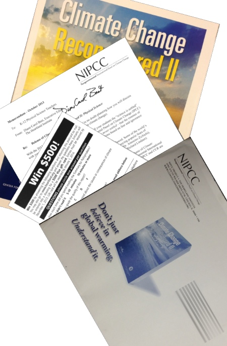 "NIPCC mailing contents, including envelope, cover letter from Diane Carol Bast, ""Climate Change Reconsidered II"" booklet, and a postcard offering a chance to ""Win $500"""