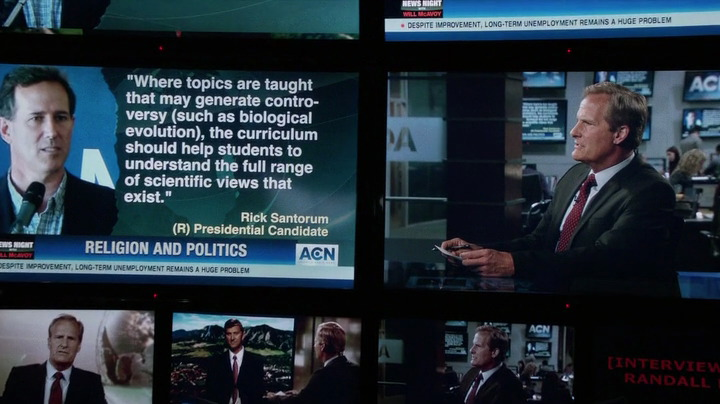 """Newsroom"" anchor Will McAvoy addresses Rick Santorum's comments on the Santorum Amendment."
