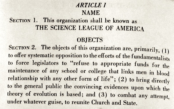 Science League of America's constitution, Article I