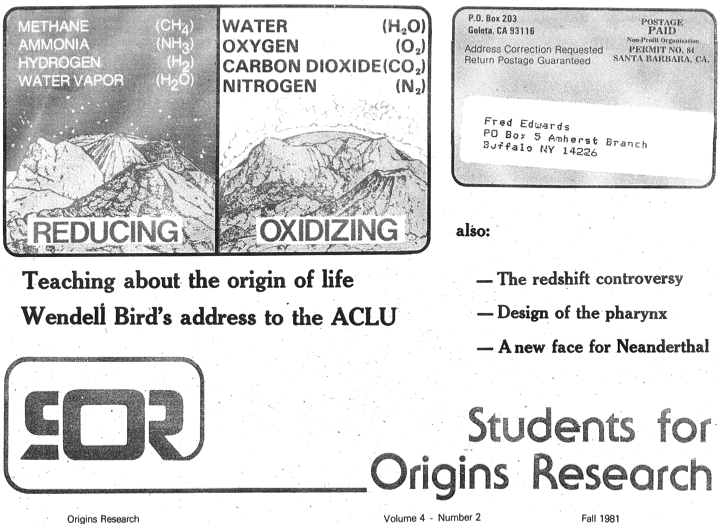 Students for Origins Research cover from Fall 1981, in which the early work on what was to become Of Pandas and People was announced.