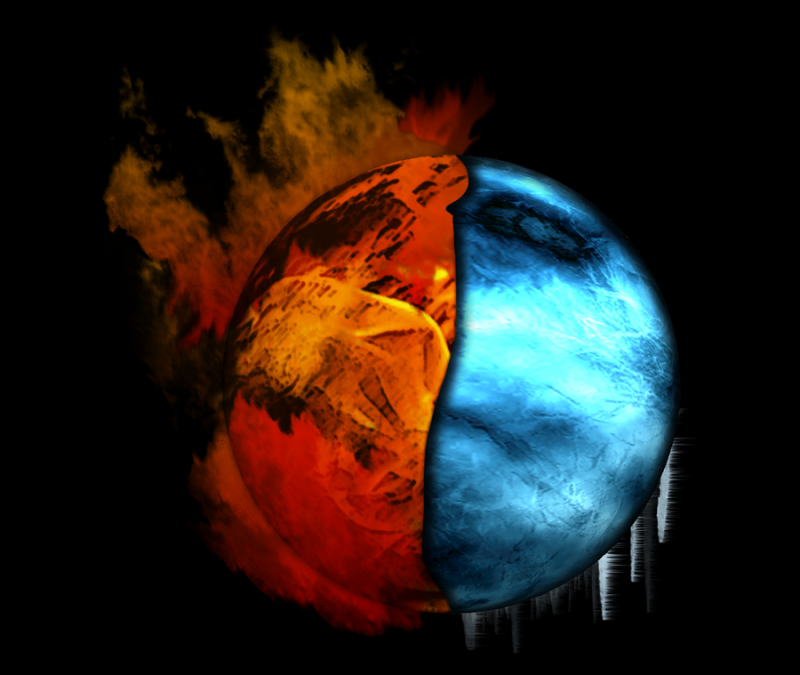 """Fire and Ice,"" an abstract globe in blue and red. Image by 3amireh on DeviantArt, used under a CC:BY license: http://3amireh.deviantart.com/art/Fire-and-Ice-205311539"