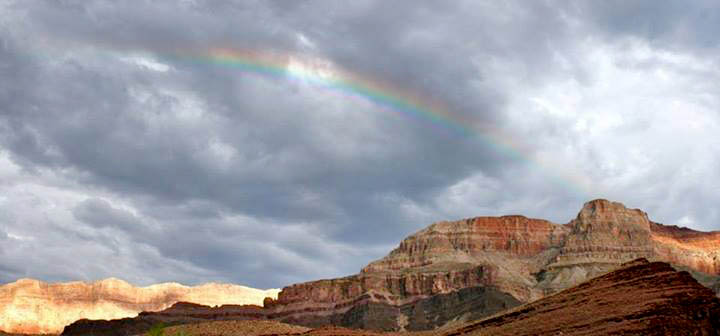 a rainbow over Grand Canyon
