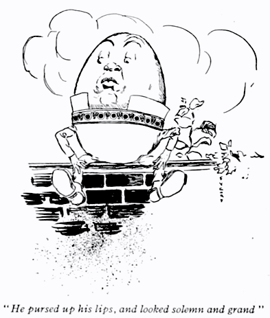 Humpty Dumpty illustration from a 1917 edition of Lewis Carroll's Through the Looking Glass