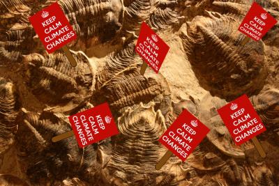 "Trilobite Climate Deniers: Photo of trilobite fossils with protest signs added, reading ""Keep Calm, Climate Changes"""