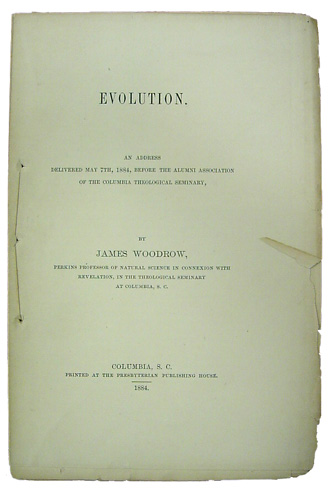 The title page of James Woodrow's Evolution