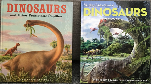"""Comparison of the 1960 Golden Book """"Dinosaurs"""" and the 2013 """"Golden Book of Dinosaurs"""""""