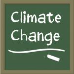 Teaching climate change logo: Teaching Climate Change logo, a blackboard reading 'climate change' by Paula Spence for NCSE, 2012