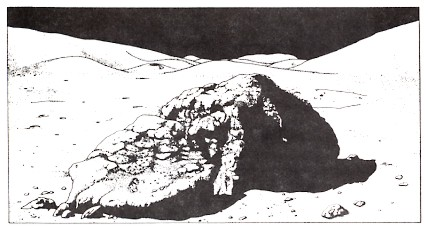 Figure 2: Artist's drawing from Apollo 13 photograph of scene in figure 1. Note that all exposed surfaces have been worn and rounded by erosion. Exposed surfaces of the boulder in the foreground have a substantial cover of dirt.