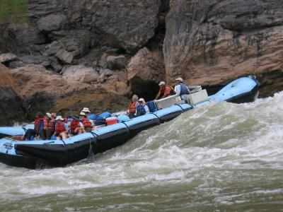 Rafting rapids in Grand Canyon