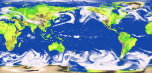 Output from a model of global atmospheric circulation.
