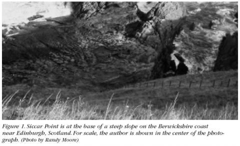 Figure 1: Siccar Point is at the base of a steep slope on the Berwickshire coast near Edinburgh, Scotland. For scale, the author is shown in the center of the photograph. (Photo by Randy Moore)