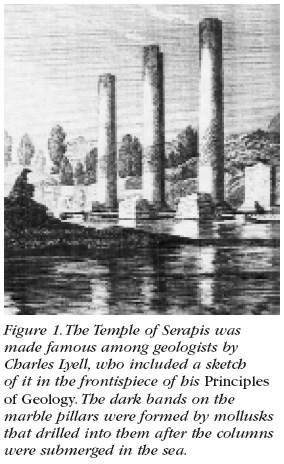 Figure 1: The Temple of Serapis was made famous among geologists by Charles Lyell, who included a sketch of it in the frontispiece of his Principles of Geology. The dark bands on the marble pillars were formed by mollusks that drilled into them after the columns were submerged in the sea.