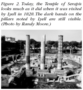 Figure 2: Today, the Temple of Serapis looks much as it did when it was visited by Lyell in 1828. The dark bands on the pillars noted by Lyell are still visible. (Photo by Randy Moore.)
