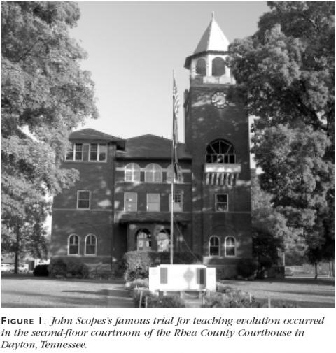 Figure 1: John Scopes's famous trial for teaching evolution occurred in the second-floor courtroom of the Rhea County Courthouse in Dayton, Tennessee.