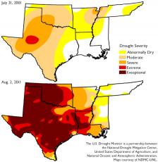Texas Drought, 2001 vs. 2011: Drought in Texas during the record-setting summer of 2011, compared with more modest drought conditions a decade earlier. More frequent and more intense droughts in some areas are one of the effects of global climate change.