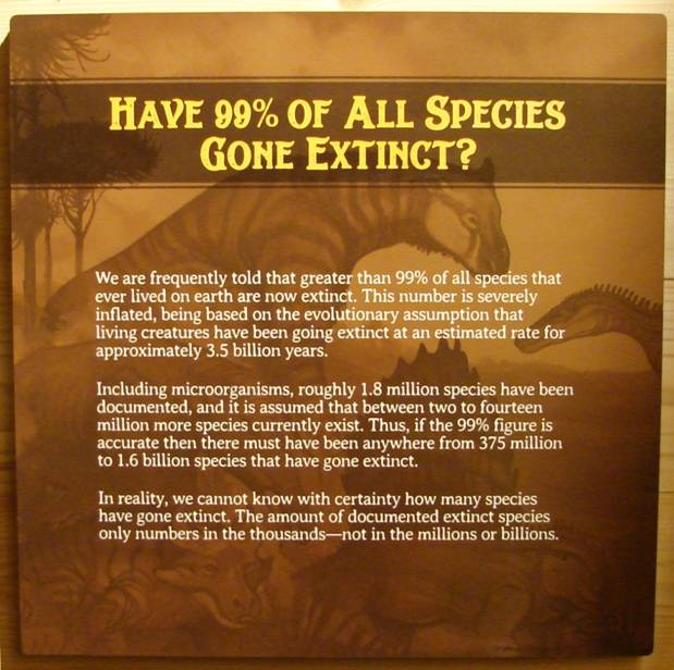 Figure 9. Misinformation on extinction. One of the first placards encountered on Deck One.