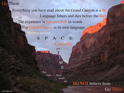 Grand Canyon with Amil Quayle poem