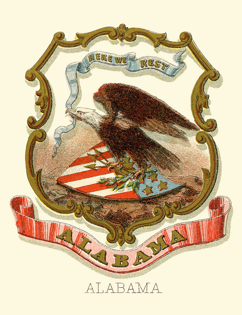 Alabama state coat of arms, via Wikimedia Commons
