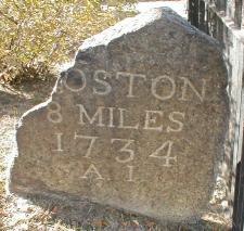 Milestone 8 on the Upper Boston Post Road in Harvard Square, via Wikimedia Commons