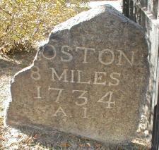 Milestone 8 on the Upper Boston Post Road in Harvard Square, via Wikimedia Commons