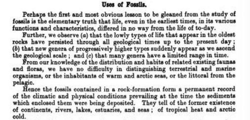 Passage from James Park's A Text-Book of Geology (1925)