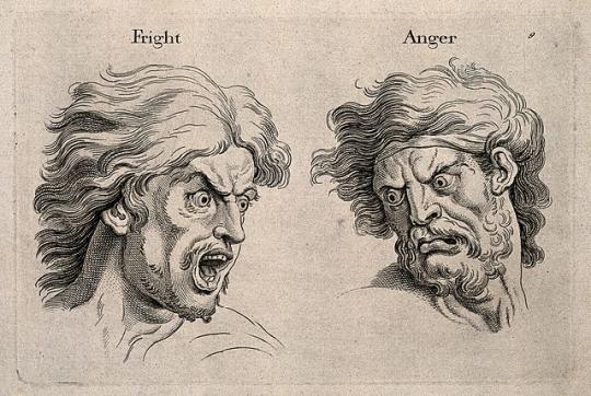 A frightened and an angry face. Engraving, c. 1760, after C. Le Brun.
