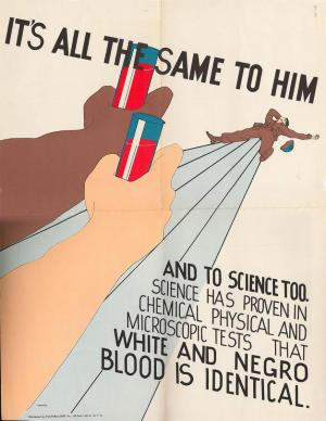 "1945 poster by Youthbuilders. Shows a wounded soldier in the background with white and black arms reaching out holding vials of blood. Text reads: ""It's All The Same To Them…and to science too. Science has proven in chemical physical and microscopic tests that white and negro blood is identical."""