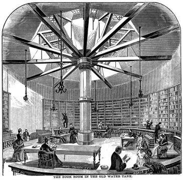 Book Room in the Old Water Tank, Chicago, via Wikimedia Commons