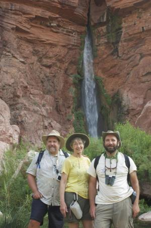 Steve Newton, Genie Scott, and Josh Rosenau at Deer Creek Falls