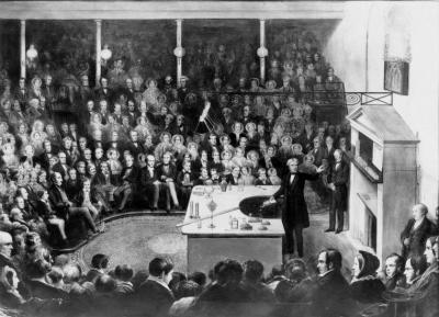Michael Faraday delivers the 1855 Christmas Lecture