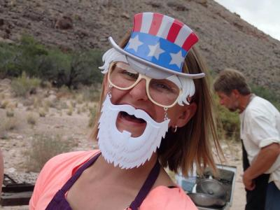 Uncle Sam fixes a July 4th supper in the Grand Canyon