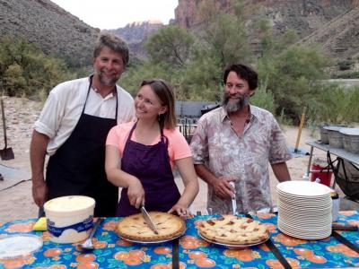 Our intrepid crew serve an amazing Fourth of July desert