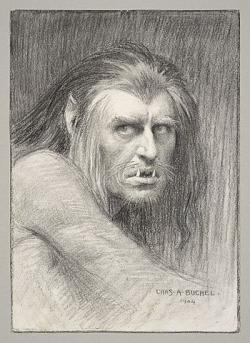 A charcoal drawing by Charles Buchel of Herbert Beerbohm Tree as Caliban in a 1904 production of Shakespeare's The Tempest