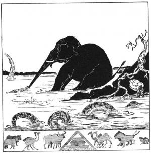 Original woodcut illustration for The Just So story 'The Elephant's Child' by Rudyard Kipling via Wikimedia Commons