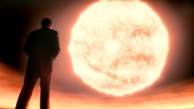 Neil deGrasse Tyson stares at the sun.