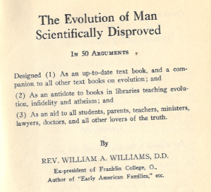 Snippet from the title page of The Evolution of Man Scientifically Disproved